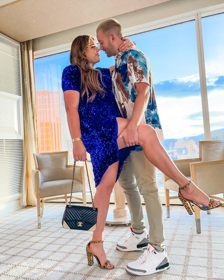 couple cocktail style! wearing size xl in my blue sequin dress and robbie is wearing an xl in his shirt    #LTKmens #LTKcurves #LTKSeasonal