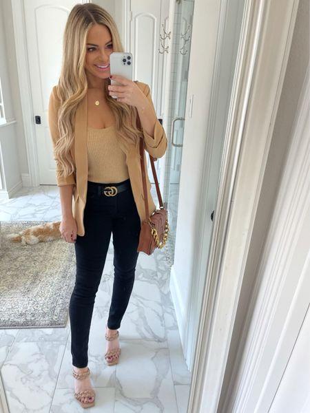 Walmart fashion, work wear, fall outfit, Blazer, black jeans, braided heels   #LTKworkwear #LTKunder50 #LTKshoecrush