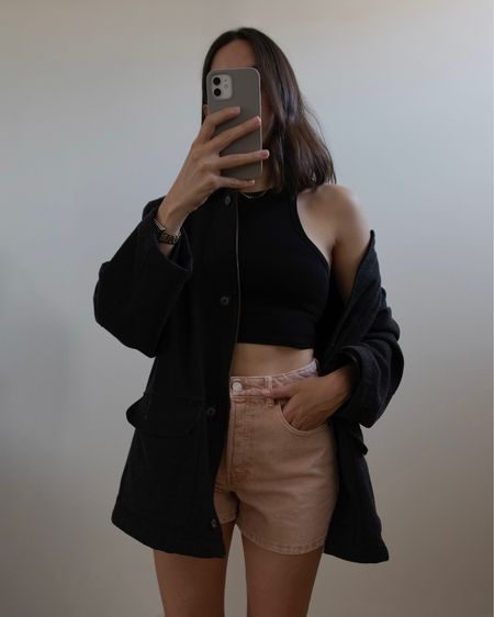 Summer outfit / vacation outfit: linked similar black crop top from Forever 21, pink denim shorts and shacket #summerfashion #competition  #LTKhome #LTKSeasonal #LTKunder50