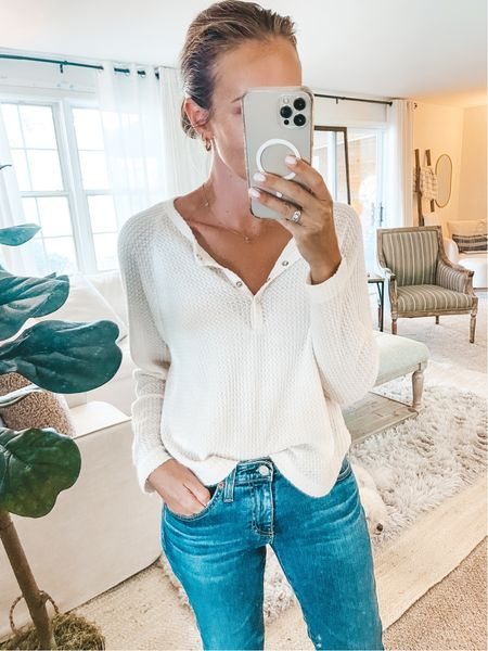 Softest thermal Henley comes in 4 colors and only $35. Size up for looser fit. Wearing XS.   #LTKSeasonal #LTKstyletip #LTKunder50