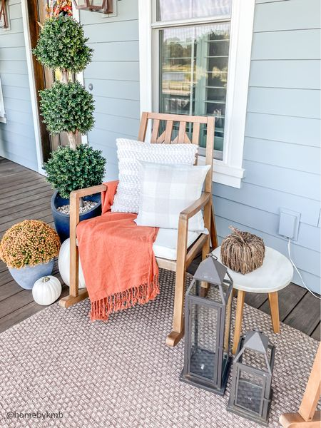 FRONT PORCH   fall feels on the porch 🍂 finally getting cool enough to enjoy this space and it's 👌🏻 • Shop this look by clicking the link in my bio or following me in the free @shop.ltk app! • • • •  #homedecorinspo #homedecorideas #homedecorblog #coastalfarmhouse #falldecor #falldecoration #fall2021 #fallvibes #falldecorations #falldecoratingideas #falldecorideas #porchdecor #frontporch #frontporchdecor #porchdecorations #rockingchair #homeideas #houseideas #housedesign #myhouseandhome #targetstyle #homedesignideas #homedecorlovers #homedecoration #homedecorating #fallfeels #fallmood  #LTKSeasonal #LTKhome