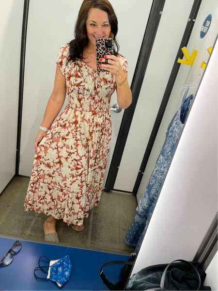 Loving this summer dress from Old Navy in orange and tan that easily transitions into fall!   #LTKDay #LTKstyletip #LTKunder50