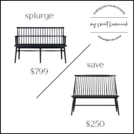 Lu lu and Georgia vs. target on this great black bench! Splurge or save?   #LTKstyletip #LTKsalealert #LTKhome