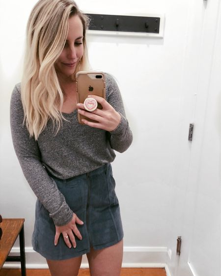 Another day, another @americaneagle dressing room 🙆🏼♀️ (the lighting + white walls are just too good to pass up). First time putting on a mini skirt since roughly 2009...actually LOVED this one, but it felt a bit short in the back for me 👀😂 (big booty problems). THIS SWEATER, THOUGH 💓🙌🏼 I already have it in blue, but scooped it up in maroon instead of gray (linked).  Download the LIKEtoKNOW.it app to shop this pic via screenshot #liketkit @liketoknow.it http://liketk.it/2z8XT #LTKunder50 #LTKsalealert #LTKunder100