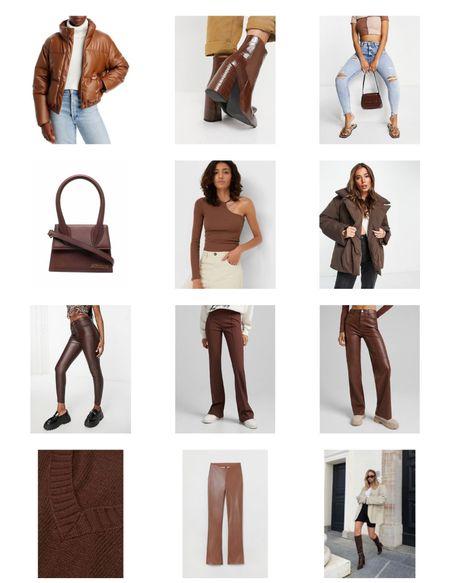 Color of the season. Brown leather puffer. Brown leather bag. Tony bianco leather brown boots. Brown leather pants. Brown purse. Brown Jacquemus la bag. Brown sweater. Brown knit sweater   #LTKHoliday #LTKstyletip #LTKsalealert