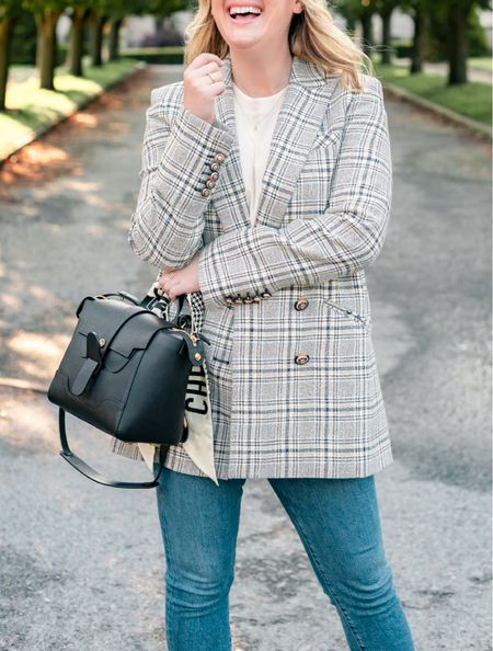 Veronica Beard plaid blazer dickey jacket (8) and senreve mini maestro bag- use code WITWHIMSY for $50 off the bag   #LTKSeasonal