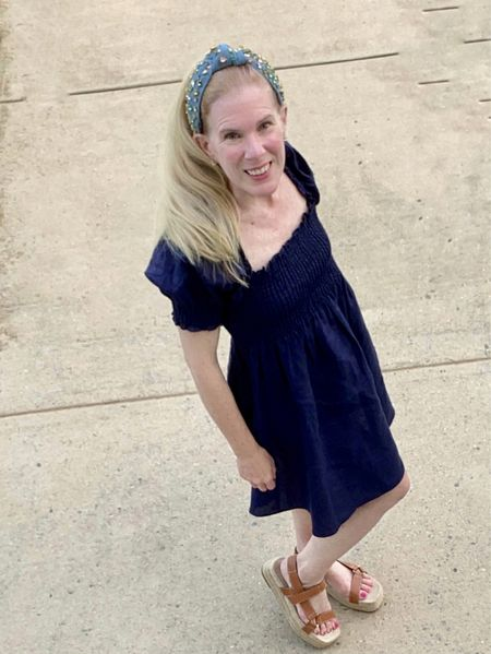 """Loving this linen nap dress on a hot summer day paired with a sparkly headband. Only 2 more weeks of """"official summer"""" for me before I go back to school.   #ltkteacher #ltkpetite  #LTKstyletip #LTKSeasonal"""