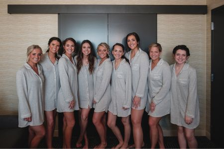 Wedding morning getting ready looks with the most beautiful bridesmaids ✨   Our pajama sets were from Target and we monogrammed them ourselves. We bought them on major black Friday sales for about $14 each & added our own personalizations using a cricket.   If DIY'ing isn't your thing, Etsy has some beautiful & cozy pajama sets for both the bride & bridesmaids.   Pro tip: buy one for yourself & pack it for the honeymoon ✨   #bridesmaid #bridesmaidpajamas #bridepajamas #bridesmaidpj #bridepj #weddingmorning #bridesmaids #weddingday #bride http://liketk.it/37VhO #liketkit @liketoknow.it