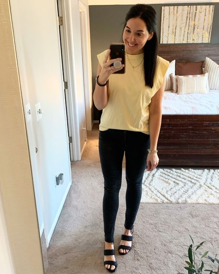All dressed up and nowhere to go. I'm quarantining this week and teaching from home. Wish me luck!  In other news, I found this cute top last weekend for only $10! I'm not so sure about the padded shoulder trend, but I am loving the exaggerated shoulder on this top! It's subtle but adds something extra! Also loving yellow lately and this pale shade is perfect! 👌🏼   http://liketk.it/3aAaA @liketoknow.it #liketkit #LTKstyletip #LTKworkwear
