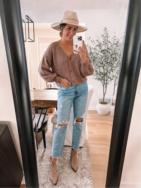 Fall hat, floppy hat, fedora  Booties: size up half  - Cardigan & jeans from shopminneco.com (code TAYLOR20)    #LTKshoecrush #LTKunder100 #LTKSeasonal