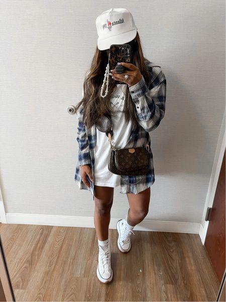 The best #OversizeT-shirt and #Oversizedbuttondown size down half a size in the #whitesneakers #under25 #vintagehat #tennisskirt #Converses  #LTKunder50 #LTKsalealert #LTKstyletip