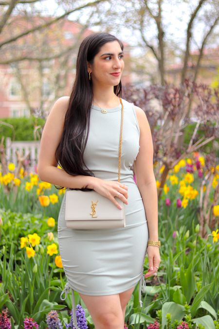 Ruched dress, sage green dress, ribbed dress, casual dress, spring outfit, spring dress , found it on amazon, amazon fashion  Sleeves body con ruched dress   #LTKitbag #LTKunder50 #LTKcurves