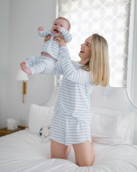 The softest mommy and me pajamas in the prettiest tranquil green, blue, and white stripes are all we need for spring 💙💚 The color of these Lake Pajamas is 'sea glass' and so sweet! http://liketk.it/3bFzO @liketoknow.it #liketkit #LTKbaby #LTKstyletip #LTKunder100