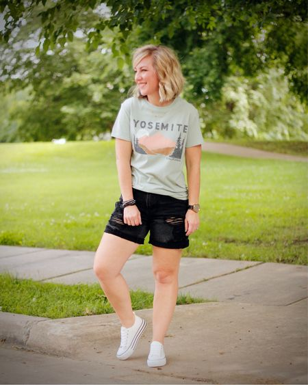 Finally had some water balloon weather! I always end up being soaked as an innocent bystander...  who are we kidding, I'm actually the photographer!😆  My tee is under $10 and has a great fit that's slimmer than a men's tee, but still so comfy!  My distressed denim and sneakers are both from New York & Company, true to size, shop by clicking the link in my profile.    #LTKunder50 #LTKstyletip #LTKfamily