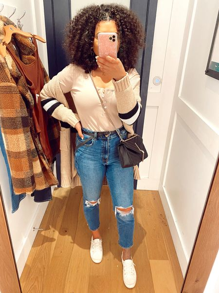 American Eagle Try on! Bodysuit: L http://liketk.it/2JmuE #liketkit @liketoknow.it #LTKstyletip #LTKunder50 #LTKsalealert  Pants: 6 but bought another paid in a 4 because the run large Cardigan: OS Flannel coat: M