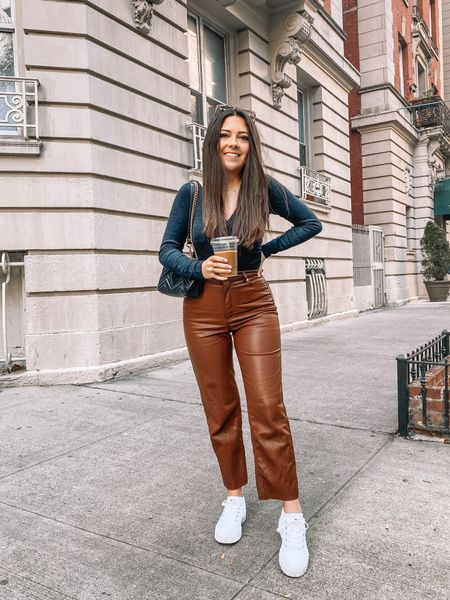 Apparently you guys love these brown leather pants as much as I do — currently a best seller on the blog! They're still 50% off rn, but running low on sizes, so get them while you can! I'm considering getting them in the black version I love them so much 🤩 so comfortable and flattering on 🙌  Linking them and some other options in the LIKEtoKNOW.it app!   #LTKstyletip #LTKunder50 #LTKsalealert