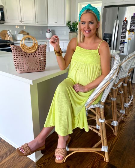 Riviera bar & counter stools are 20% off with code DIVEIN! (Fog/White color and 26 inch counter stool height) I'm wearing the Scoop women's solid smocked cami dress in lime (size: XS) with a turquoise Lele Sadoughi headband and Reanna slide sandals!  http://liketk.it/3gjai @liketoknow.it #liketkit #LTKsalealert #LTKhome