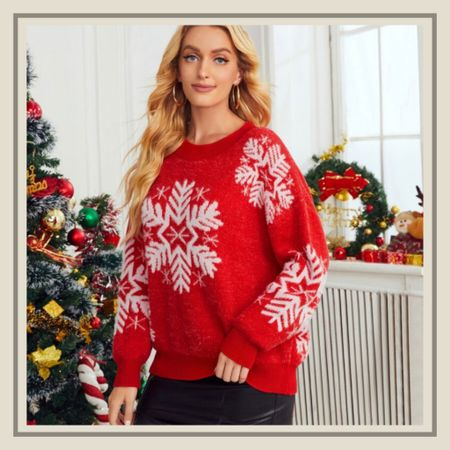 Snowflake Christmas pattern holiday sweater from Shein   #LTKstyletip #LTKHoliday #LTKunder50
