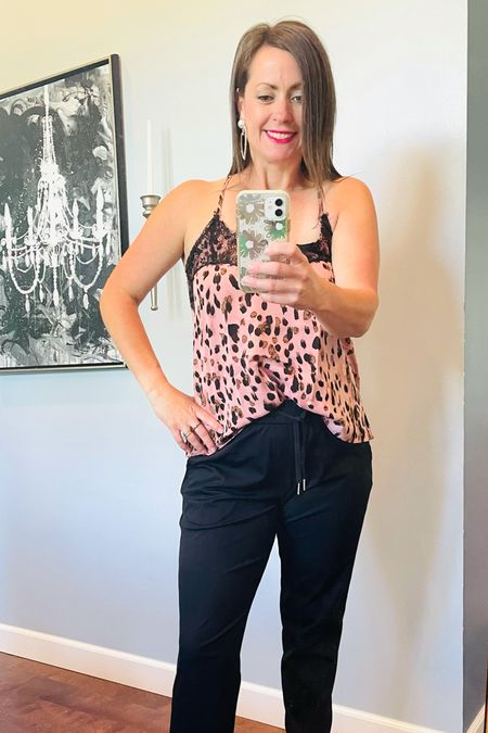 Jogger style day 2!! Super simple and super feminine for a summer night out with your main squeeze. This lace cami is perfection and the earrings are the perfect topper!  #LTKunder50 #LTKcurves #LTKstyletip