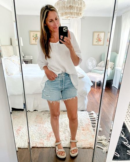 I searched high and low (both everywhere and every budget) for the best fitting jean shorts, and ended up on the high end…but I love them and they are worth every penny! They are the perfect length and the wash is 👌🏻 I found a budget friendly pair that I'll share to stories. For a light wash though, this pair came out of top. http://liketk.it/3hKi6 #liketkit @liketoknow.it #LTKshoecrush #LTKstyletip