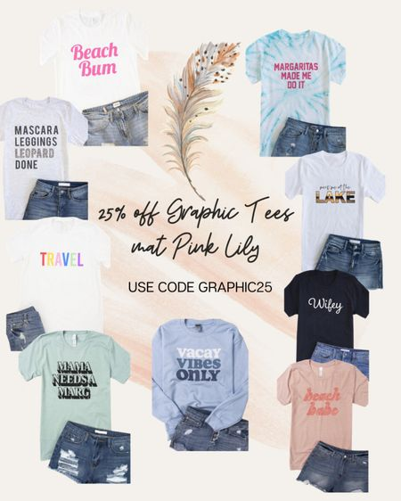 🚨Pink Lily Sale🚨 It's no secret that I love a great graphic tee! Pink Lily is having an amazing sale on some great summer graphic tees! Check out some of my favorites linked in my profile!   (Sale ends tonight!)   http://liketk.it/3dtGt #liketkit #LTKstyletip #LTKsalealert #LTKunder50 @liketoknow.it