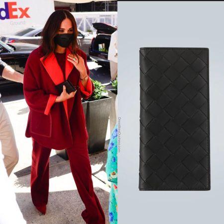 Meghan carrying Bottega Veneta long leather wallet ID UFO No More #purse #designer #city #urban #business #suit   #LTKstyletip #LTKworkwear