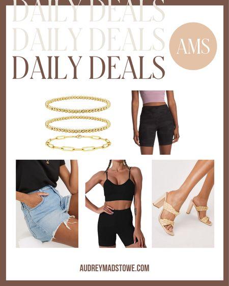 DAILY DEALS 🤩  - Gold Amazon jewelry  - Biker shorts under $20 - Denim shorts - Workout set - Heeled sandals  #LTKunder50 #LTKsalealert #LTKSeasonal