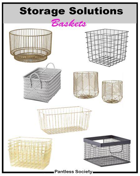 Storage solution. Home organization. Wire baskets. Storage baskets. Home decor. Gold wire baskets.  #LTKHoliday #LTKhome #LTKfamily