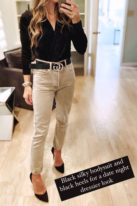 Black silk bodysuit and neutral high rise denim from citizens of humanity. Perfect fall date night look   #LTKstyletip #LTKunder50 #LTKunder100