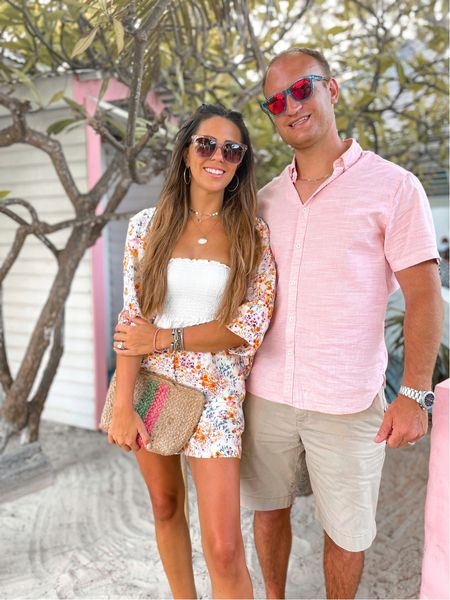 Vacation outfits for him and for her  Floral two piece set!   #LTKstyletip #LTKtravel #LTKmens