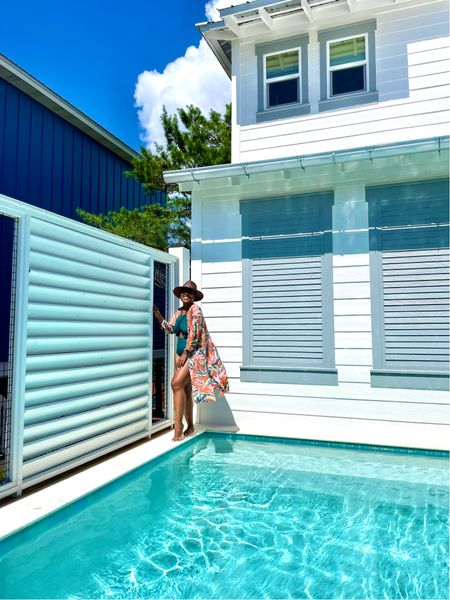 Brown Panama hat green cut-out swimsuit floral duster floral kimono #loftimist   #LTKSeasonal #LTKswim