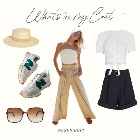 📷 Whats in My Cart! Check out my top pics from Free People, Intermix, Shopbop and Urban! Two piece set, white wrap T-shirt, high-waisted shorts, new balance sneakers, lack of color hat, gucci sunglasses. http://liketk.it/3l5Q8 #liketkit @liketoknow.it
