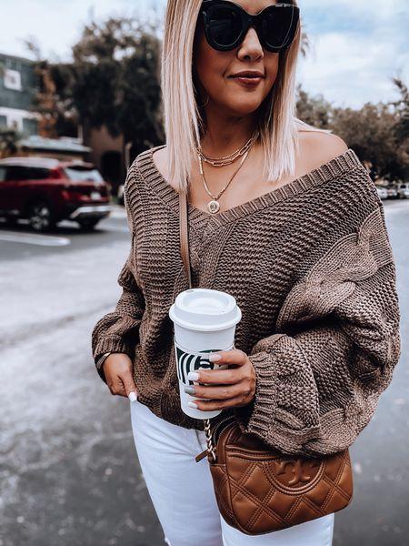 Chunky sweater, white denim, Tory Burch crossbody bag, white mules, oversized sunnies, layered necklace   #LTKunder50 #LTKSeasonal #LTKstyletip