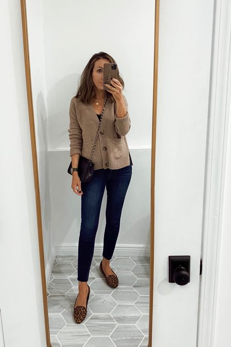 Jeans tts for me. My loafers are super old, linking fab options. Cardigan old J.Crew, linked similar (ordered it).