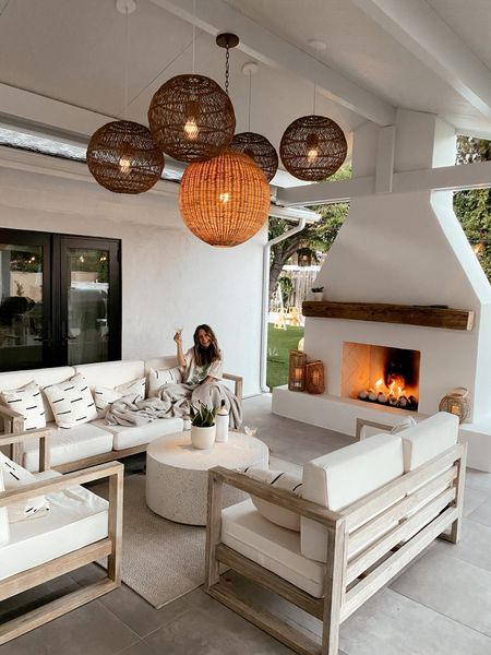 Backyard patio furniture and outdoor lighting //   #LTKhome