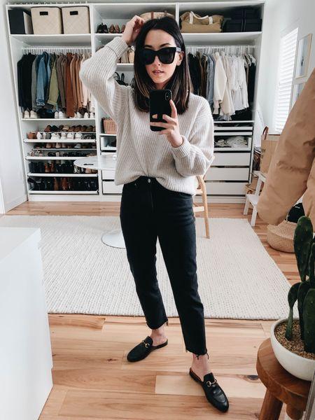 Madewell tomboy straight jeans- on sale!   Sweater- Everlane xxs Jeans- Madewell petite 23 Mules- Gucci 35 Sunglasses- Quay      #LTKSale #LTKshoecrush #LTKsalealert