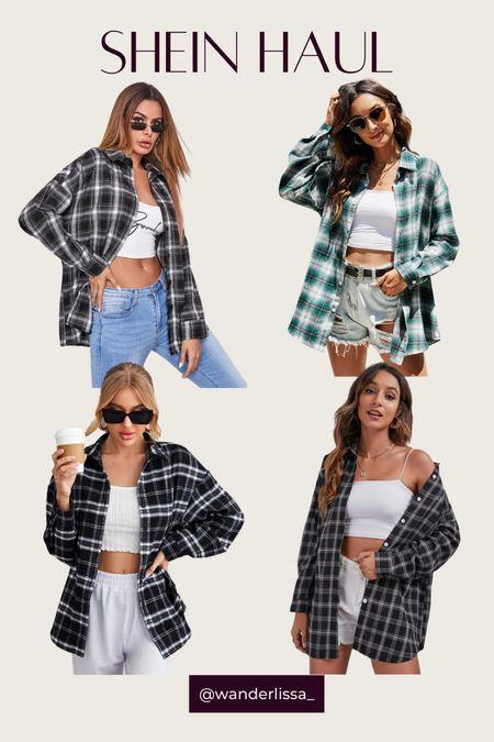 Shein Fall Flannels 🖤  #LTKsalealert #LTKSeasonal #LTKunder50