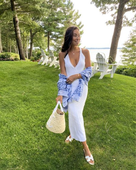 White knit dress with sarong and straw bag.   #LTKstyletip #LTKtravel