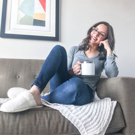 Cozy mornings with a cup of coffee! This long sleeve tee from Target is such a wardrobe must-have and a staple for me. I own it in 5-6 colors! Paired with my go-to Abercrombie jeans, my super fuzzy slippers and a delicious cup of decaf coffee in my Yeti mug...the best way to start the day!   http://liketk.it/2Juxi #liketkit @liketoknow.it #LTKstyletip #LTKunder50 #LTKshoecrush