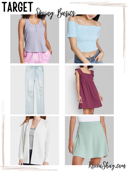 Target spring fashion basics!   Let's get basic! I love these simple new pieces from Target that are perfect for the spring time.   ✨✨✨✨  Target style, target fashion, target finds, target clothes, spring fashion, spring clothes, spring time, spring tank top, spring shirts, spring jeans, ripped jeans, spring dress, target dress, spring skirt, spring cardigan   #LTKunder100 #LTKSeasonal #LTKSpringSale