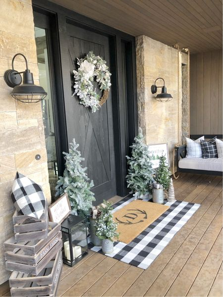 H O L I D A Y \ #christmas door decor🎄  #christmasdecor #christmasdoor #wreath #doormat #doordecor  #LTKHoliday #LTKunder50 #LTKhome