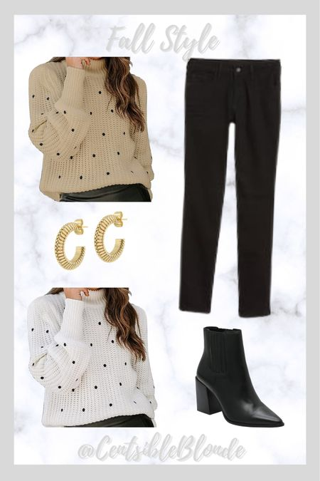 Black polka dot sweater with black jeans and black boots  Fall outfit Fall style Sweater and jeans Amazon sweaters Black boots   #LTKSeasonal #LTKshoecrush #LTKunder100