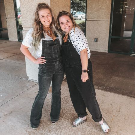 Twinning with The Ha(y)ley's! 🥳 We both have a similar style so we thought, why not match for work?!😂 Iv'e linked my Carly Flare Free People overalls! They are on a super sale at Macy's right now!  Shop your screenshot of this pic with the LIKEtoKNOW.it app   http://liketk.it/2CYJK #liketkit @liketoknow.it
