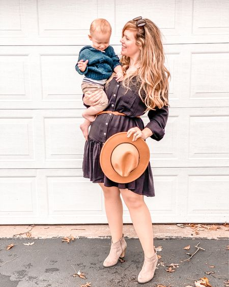 Love this dress from @collective_rose!! Check out their amazing boutique!! Also this adorable hat and the boots!   #LTKFall #LTKunder50 #LTKshoecrush