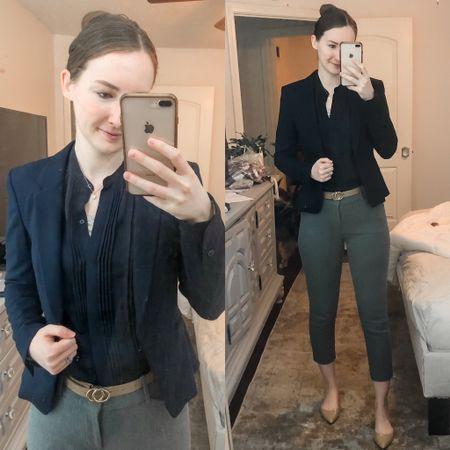 Business casual, work wear, wear to work, office style, real estate agent, realtor outfit, navy blazer, grey dress pants, tan flats  #LTKworkwear