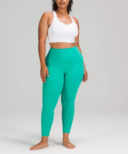 """New lululemon alert 🚨 The lululemon Align High-Rise Pant 25"""" came out today in THREE new colors, including this gorgeous bright green they've dubbed Maldives Green. (Dark Red and Copper Brown also hit the website today). I've also linked other styles released in Maldives Green today too for easy shopping!   #LTKfit #LTKunder100 #LTKcurves"""