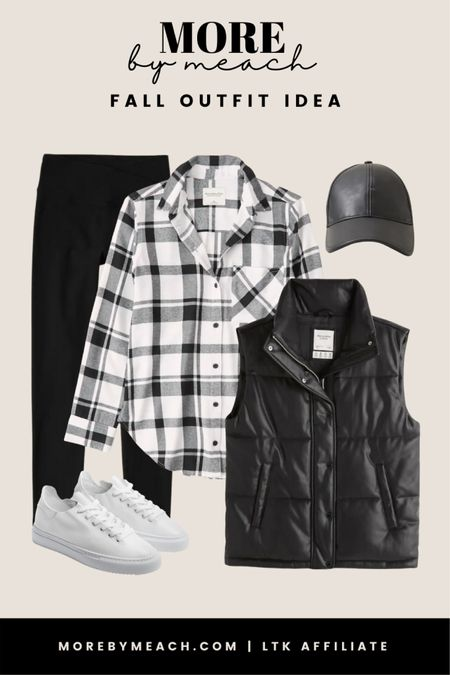 Another monochromatic outfit using a plaid button up shirt, faux leather puffer jacket, black leggings, plain white sneakers, and faux leather hat. || Abercrombie and Fitch outfits, fall outfits, comfy casual outfits, travel outfits   #LTKSeasonal #LTKsalealert #LTKSale