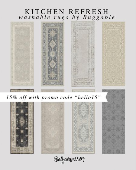 Ruggable kitchen runners (rugs avail in all sizes) for a kitchen refresh!   Washable rugs, vintage rug, home decor, living room, bedroom inspiration, entryway, playroom, nursery  #LTKhome