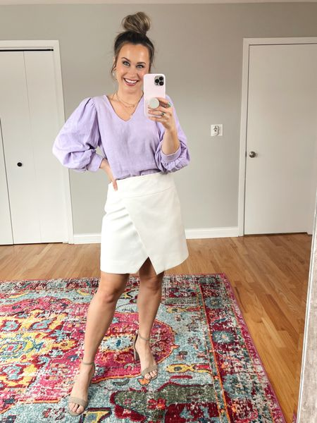 Target Finds: This target top is on sale right now, it would be the perfect work top and its on sale right now! paired it with a white skirt, this one is old so I linked some other options that are so cute! This would be the perfect business casual outfit and I linked my nude heels.  #LTKsalealert #LTKworkwear #LTKunder50