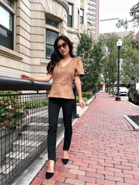 Sale alert: 40% off at Ann Taylor with code ANNVIP (ends 9/20) // fall business casual sale   •Faux suede peplum top xxs regular (roomy fit on me, the green faux leather version comes in petites and the xxs petite fits me well)  •Black Audrey pant 00 petite (hem folded under)  •Black suede Azra pumps size 5  Also linked a few other fall workwear essentials included in the sale!   #LTKworkwear #LTKsalealert #LTKSeasonal